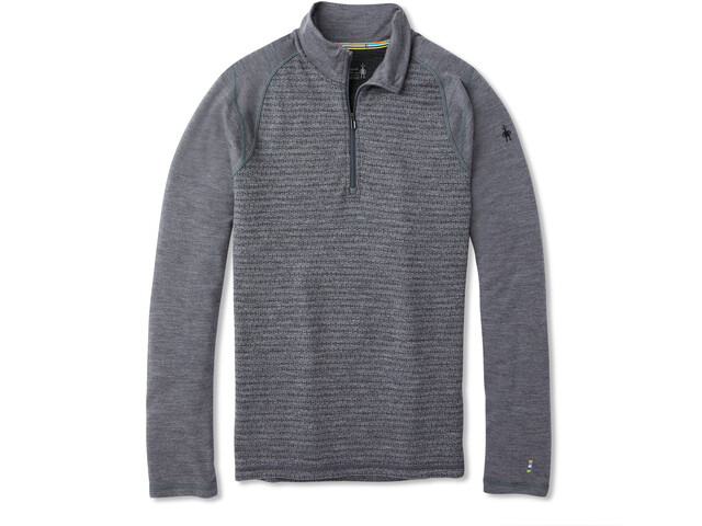 Smartwool Merino 250 Pattern Sous-couche zip 1/4 Homme, medium gray tick stitch